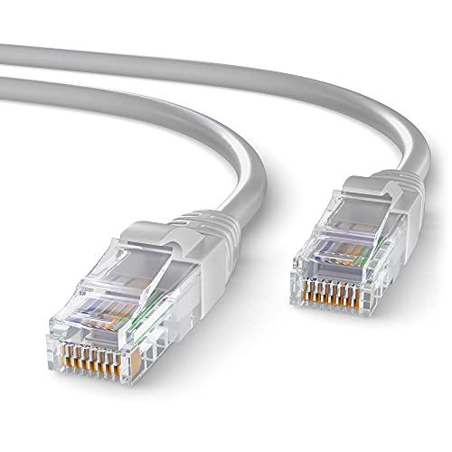 Mr. Tronic 10m Ethernet Netzwerk Netzwerkkabel | Patchkabel | CAT5e, AWG24, CCA, UTP, RJ45 | LAN Kabel für Gigabit Internet Netzwerke | Ideal für PC, Router, Modem, Switch (10 Meter, Grau)