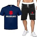 2 Piezas Camisetas y Pantalones Cortos para Hombres para Suzuki Moda Impresa Camiseta de Manga Corta y Pantalones Cortos Conjunto Conjunto de Trajes de Verano (Color : D, Tamaño : L)
