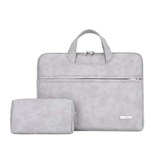 WYHP 13-15,6 inch laptop schoudertas beschermhoes Briefcase Met PU leder stof en Grey Strap (Color : Gray, Size : 14inch)