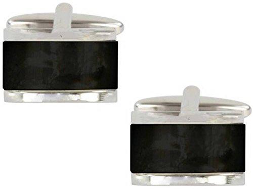 Black / Silver Onyx bombé Rectangle boutons de manchette de David Van Hagen