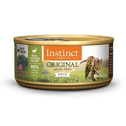 Instinct Original Grain Free Real Venison Recipe Natural Wet Canned Cat Food by Nature's Variety, 5.5 oz. Cans (Case of 12)