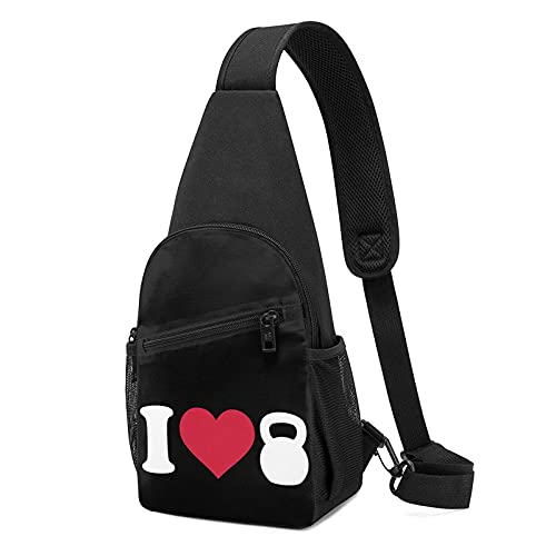 AOOEDM I Love Kettlebell - Bolso bandolera para hombre y mujer, impresión 3D, multifunción, senderismo, camping, deportes