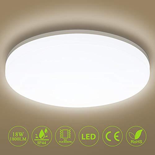 Deckenleuchte LED Deckenlampe 18W 1800LM Ø28cm IP44 Badlampe 4000K Neutralweiß, Oeegoo Flimmerfrei Wohnzimmerlampe für Schlafzimmer, Kinderzimmer, Badezimmer, Küche, Esszimmer, Balkon