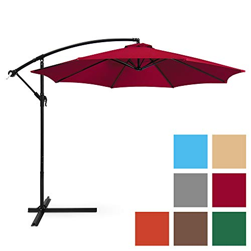 Best Choice Products 10-Foot Offset Hanging Aluminum Polyester Market Patio Umbrella w/ 8 Ribs and Easy Tilt Adjustment, Burgundy