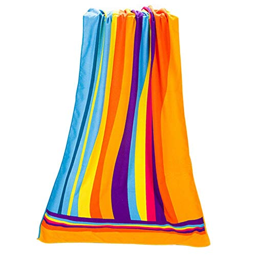 Huien coloré Arc-en-Ciel Absorbant Microfibre Bain Serviette de Plage séchage Gant de Toilette Maillots de Bain Douche 70 * 140 cm