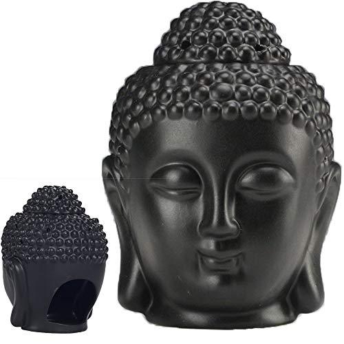 Ceramic Buddha Head Statue Oil Burner Translucent Ceramic Aromatherapy Diffusers Yoga Spa Home Bedroom Decor Gift (Black)