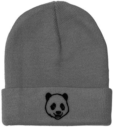 Custom Beanie for Men Women Panda Bear Face Embroidery Acrylic Skull Cap Hat Light Grey Design product image