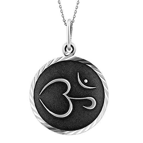LillyMarie Damen Schlichte Halskette Sterlingsilber 925 Amulet Anhänger Glücksbringer Indisches Ewigkeit-Symbol Silber Schwarz Längen-verstellbar Satin-Beutel Geschenk für Frauen
