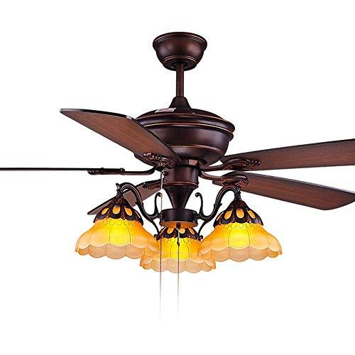 TGRBOP Ventiladores De Techo Retro Europeos Luz Con 3 Velocidades 3 Cambios De Luz Lámpara De Ventilador De Techo Para Dormitorio Lámpara De Ventilador Vintage Con Control Remoto Ventilador De Techo C