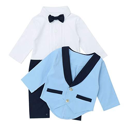 TiaoBug Baby Jungen Anzug Set Langarm Hemd Body mit Kentkragen Fliege Lange Hose Overalls Gentleman Sakko Smoking Jacke Mantel Hochzeits Party Bekleidung Hellblau 74-80