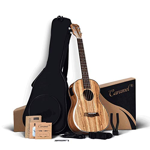Caramel 30 inch CB103 Zebra wood High Gloss Baritone LCD color display Electric Ukulele Professional Ukelele Kit Beginner Travel Guitar Starter Pack Bundle, Padded Gig Bag, Strap and Wall mount Set