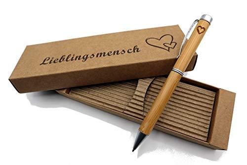 Besonders edler MORWE Bambus-Kugelschreiber mit Herz Gravur - Nachhaltiger Holzkugelschreiber mit Aufschrift Lieblingsmensch - Geschenk für Freundin, Freund, Partner sowie den Liebsten