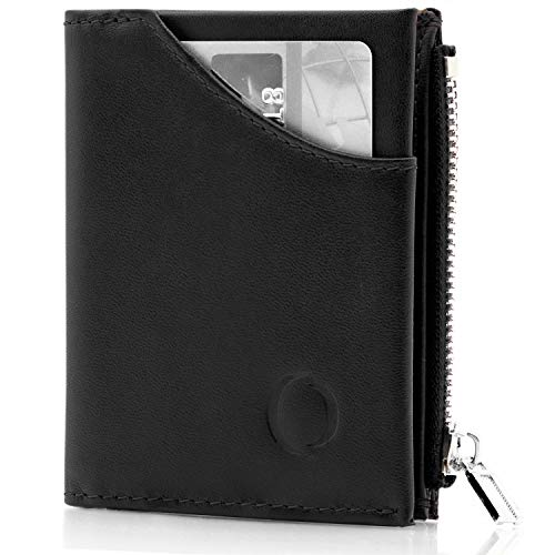 Portafoglio nero uomo piccolo intelligente e sottile in vera pelle con porta carte di credito, portamonete porta tessere, protezione anti-RFID