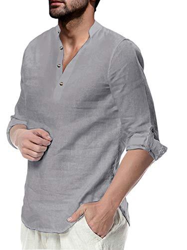 Herren Hemd Baumwolle Leinenhemd Langarm Stehkragen Hemd Freizeit Sommer Hemd Shirts, Grau, L