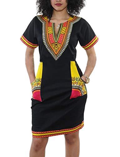 Vestiti per Le Donne Africane in Maniche Corte Aline Casual Estate Midi Vestiti Giallo L