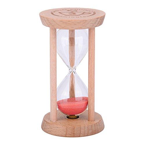 Mini-Sanduhr – Holz-Sanduhr, Timer, Holzfarbe, Werkzeug für Zuhause und Restaurant, 1 Minute/3 Minuten
