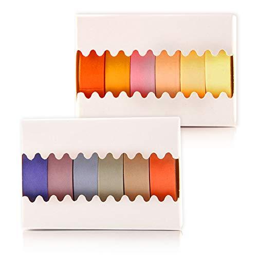 Keleily Washi Tape Set 12 Rollen naturfarben Washi Tape bunt Deko Klebeband Bastelbedarf für Geschenkverpackung, Scrapbooking, Karten, Tagebuch, DIY (3M X 0.9CM) -Warme Farbe (Haushaltswaren)