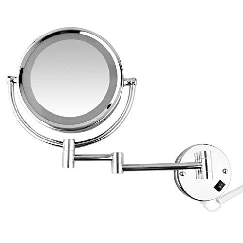 mettime LED maquillarse redonda umklappbarer en la pared befestigter Espejo Tocador, 360° giratoria doble cara 3veces Lupa