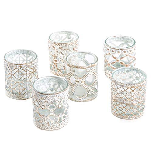 Logbuch-Verlag 6 portavelas de metal dorado y blanco con cristal – vasos...