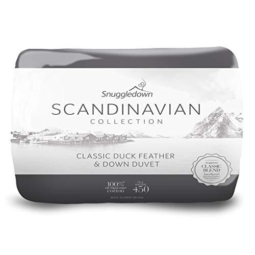 Snuggledown Scandinavian - Piumino singolo, 135 cm x 200 cm, 85% piuma d' oca e 15% Piumino d' anatra, 100% cotone con una 233 Fili, Bianco