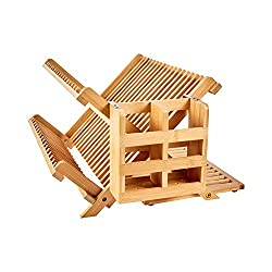 Bamboo dish drying rack with utensil holder