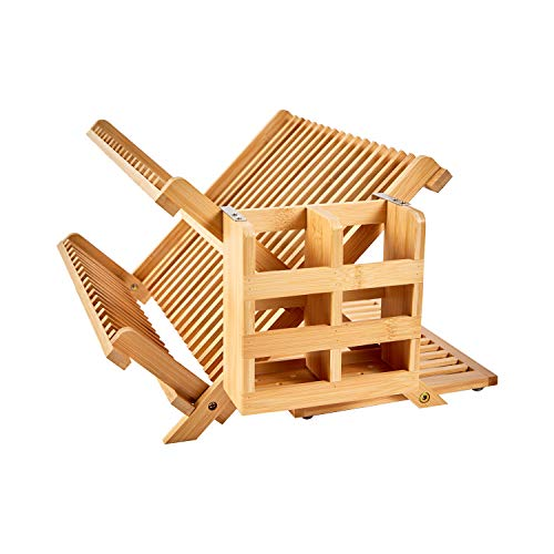 NOVAYEAH Bamboo Dish Drying Rack with Utensil Holder, Collapsible Wooden Dish Drainer Rack, 3-Tier Large Folding Drying Holder for Kitchen Counter