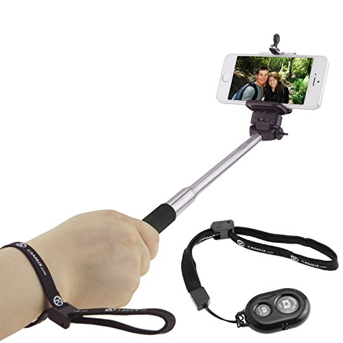 """Selfie Stick with Bluetooth Remote for Smartphones - with Universal Phone Holder up to 3.25 Inch in Width - Adjustable Handheld Monopod 11"""" - 40"""" - Light, Compact, Easy to Carry"""