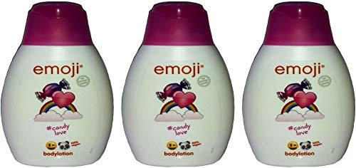 3x emoji #Candy Love Bodylotion 100% Vegan feuchtigkeitsspendender,250ml (3er Pack)