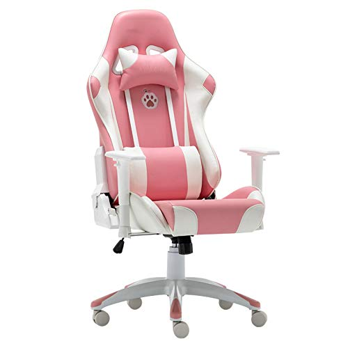 HMBB Sillas de escritorio, Silla de juego,Silla de juegos ergonómica rosa estilo silla de oficina de cuero de la PU de la espalda alta Racing silla de ordenador