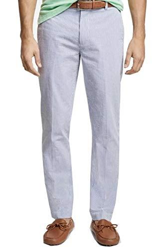 Brooks Brothers Men's 57355 Clark Fit Stripe Seersucker Pants, Blue (34x30)