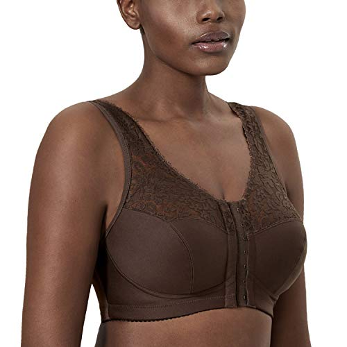DELIMIRA Damen Große Größen BH - Vorderverschluss,innen gepolstertes Brustband Schokoladenfarbe 95C