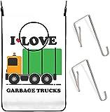 Bolsa de lavandería colgante Amo los camiones de basura sobre las cestas de la puerta Bolsas de almacenamiento de ropa sucia Cesta con ganchos adhesivos para baño, pared, armario,