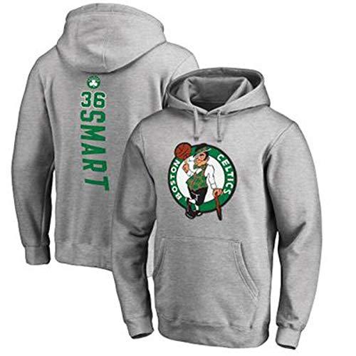 Hombres #36 Marcus Smart Basketball Jersey Primavera Otoño Invierno Sudadera Casual con capucha Boston Celtics Sudadera Manga Larga Chaqueta con Bolsillos - Gris