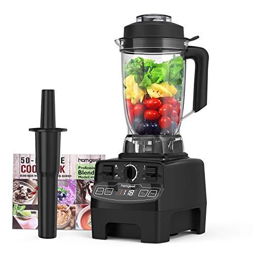 homgeek Standmixer 2000 Watt, Smoothie Mixer mit 8 Einstellbaren Geschwindigkeiten, 4 Voreingestellten Programmen und 2L BPA-freier Tritan-Behälter, Professioneller Blender für die Küche, Schwarz