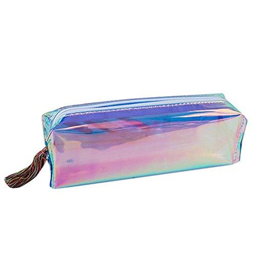 Teepao - Astuccio metallico per matite e pennelli da trucco, con ologramma trasparente e chiusura lampo impermeabile- Materiale scolastico e idea regalo Blue