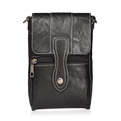 Yimiky Kleine Tasche Hüfttasche, PU Leder Gürtelclip Tasche Messenger Bags Taktische Handytasche Hüfttasche für alle 6.3 Zoll Samsung Galaxy und iPhone und Android Handy (Schwarz)