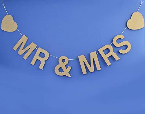 Mr & Mrs Guirnalda de madera natural para bodas