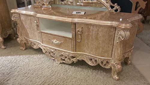 Casa Padrino Luxus Barock TV Schrank Antik Gold 220 x 55 x H. 65 cm - Prunkvoller Massivholz Fernsehschrank - Barock Wohnzimmer Möbel