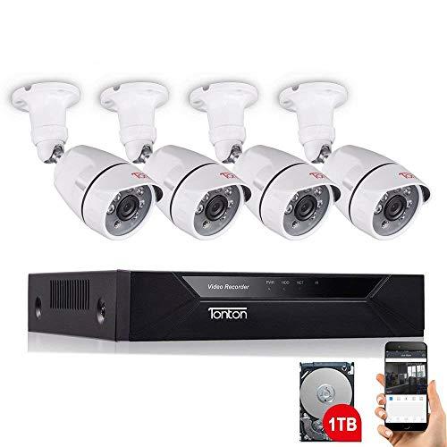 Tonton 8CH Full HD 1080P Audio Überwachungssystem mit 4 Überwachungskamera mit Audioübertragung Mikrofon, 25M Klare Nachtsicht, Outdoor Metallgehäuse, Handy PC MAC Schnellzugriff, MAC, 1TB Festplatte