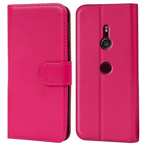 Verco Xperia XZ3 Hülle, Handyhülle für Sony Xperia XZ3 Tasche PU Leder Flip Hülle Brieftasche - Pink