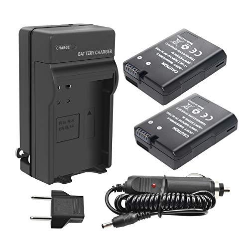 Turpow EN-EL14 EN-EL14A Battery Charger Set 2 Pack Replacement Battery Compatible with Nikon D3100 D3200 D3300 D5100 D5200 D5300 D5500 DF Coolpix P7000 P7100 P7700 P7800 DSLR Camera