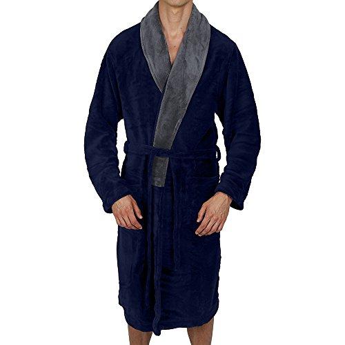 Regency New York Coral Fleece Robe (Small/Medium, Navy Contrast Grey Collar)