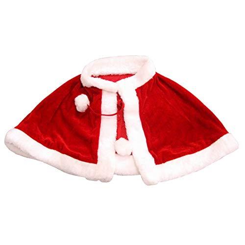 YesCoser Disfraz de Papá Noel de Navidad, capa de terciopelo chal con capucha, capa roja para adultos y niños (para niños)