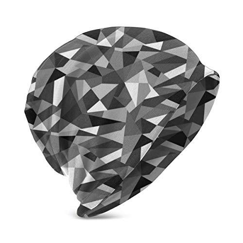 Sombreros de Punto cálidos de Invierno con patrón geométrico Abstracto en Blanco y Negro Gorro de Gorro Suave elástico para niños y niñas