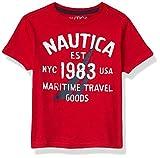Nautica Boys' Short Sleeve Screenprint Curved Hem Crew Neck T-Shirt, Apple, 2T