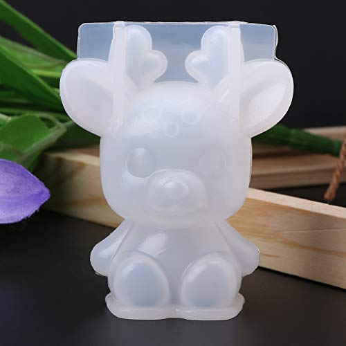 museourstyty Resin Moulds for Jewellery Making Silicone Mold 3D Animal Cute Rabbit Deer Christmas Gifts DIY Jewelry Pendant Tools for DIY Crafts Making