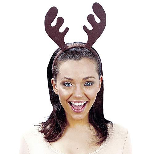 Widmann 1511A - Rentier Haarreifen, Geweih, braun, Accessoire, Kopfbedeckung, Rentier, Weihnachten, Motto Party, Karneval