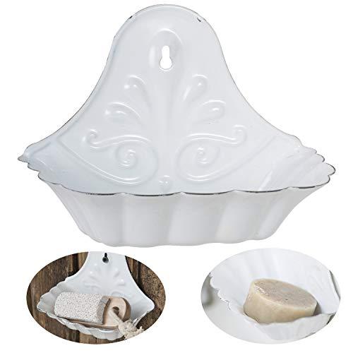 LS-LebenStil Emaille Seifenschale Weiß 16cm Altum Seifenhalter Seifenablage
