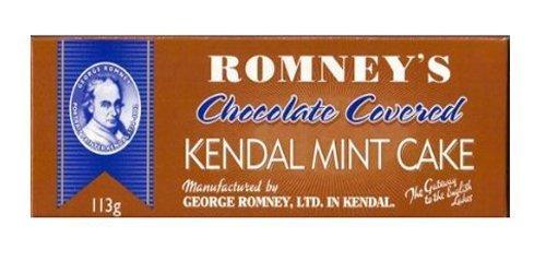 Romneys Dark Chocolate Coated Kendal Mint Cake 113g Boxed Bar x3 by Romneys