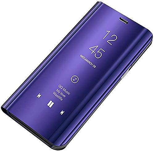 Compatible con Galaxy S6 Funda, Galaxy S6 Edge Fundas Premium Mirror Case Espejo PU Cuero Funda Cover Flip Stand Funda Funda Teléfono Móvil Funda para Samsung S6 Edge Plus (Lila Azul)